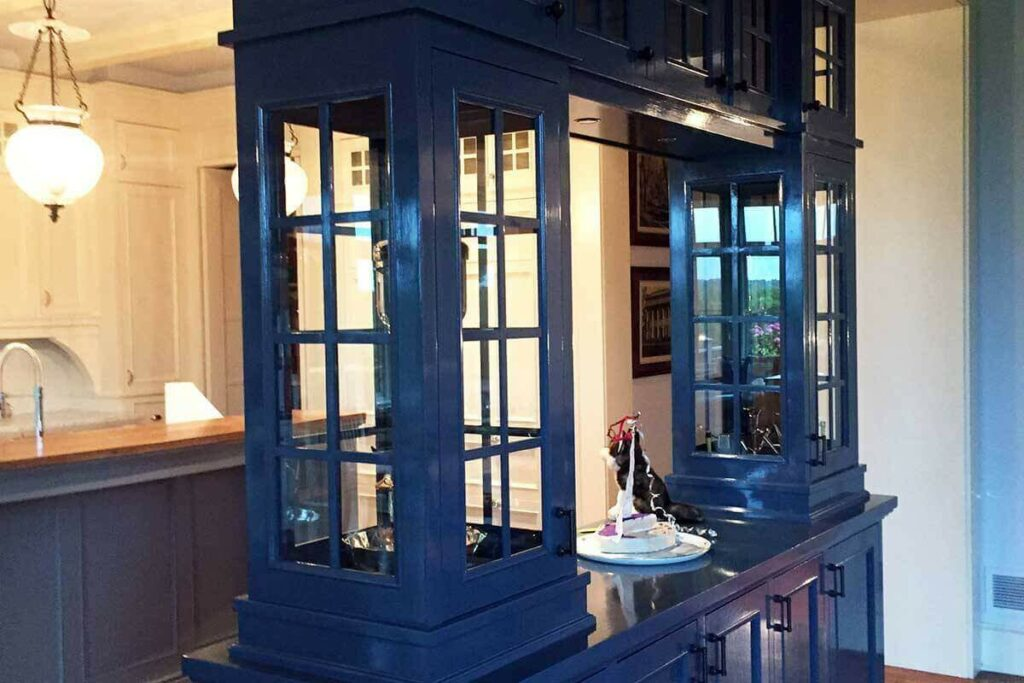Here is a cabinet painted in a rich deep Fine Paints of Europe blue.