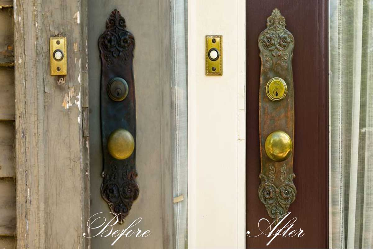 Restoring antique door hardware