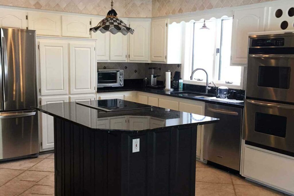 Updating wood-stained kitchencabinets to a modern painted look
