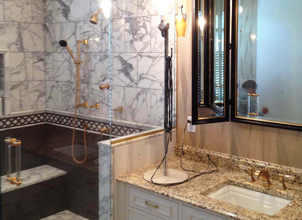 wallpapered bathroom walls create luxury statement